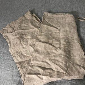 Max Studio linen pants size large khaki